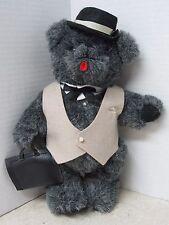 "Businessman Teddy Bear - soft, movable legs, 12"" tall - Hat, Vest, Attache Case"