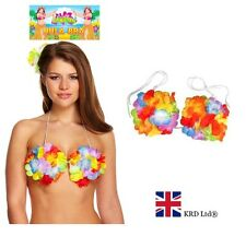 HULA BRA Adult Hawaiian Fancy Dress Costume Beach Party Ladies Outfit Flowers UK