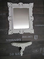 SET Weiß Wandspiegel + Wandkonsole  Rechteckig BAROCK Antik 44x38 cm Spiegel