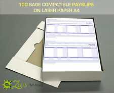 100 SAGE COMPATIBLE PAYSLIPS ON LASER PAPER A4 210 X 297mm 2 UP