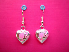 FUNKY PINK SILVER BARBIE CAMEO HEART EARRINGS KITSCH RETRO CUTE DOLL 80s EMO FUN