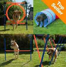 Dog Agility Complete Course Hurdle Slalom Poles Jumping Hoop Tunnel Training Kit