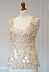 """Phase Eight Cream Sequin Lined Evening Top Size 8 Bust 34"""" Brand New"""