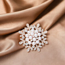 Pretty crystal pearl rose gold bridal bouquet brooch pin wedding party E