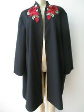 SLINKY BRAND BLACK FLORAL EMBROIDERED 3/4 SLEEVE TOP, JACKET SIZE 3X - NWT