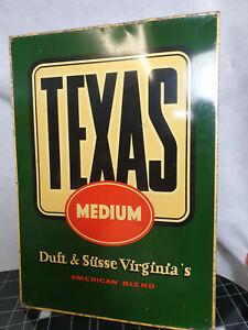 """Blechschild Werbung """" Texas Medium""""  Duft & Süsse Virginia 50s/60s Zigaretten"""