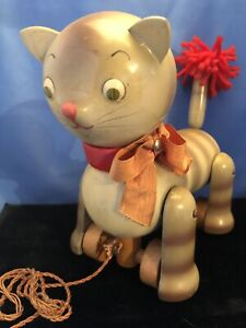 Antique/vintage Pull Toy Wooden Painted Stripped Grey CAT On Wheels ?German
