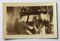 Vintage Antique photo photograph snapshot 1926 boy playing violin piano