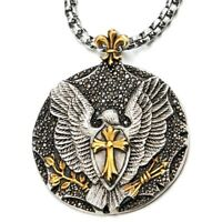 Eagle Cross Pendant Necklace with Black Cubic Zirconia Steel Silver-Gold Color