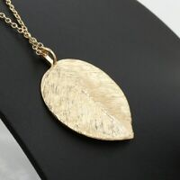 New Fashion Women Gold Leaf Pendant Charm Plated Party Chain Necklace Jewelry