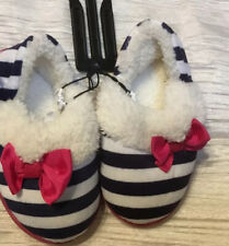 GIRL TODDLER BLACK STRIPE SLIPPERS WITH BOW SHOES SIZE 5  RUBBER SOLE CASUAL