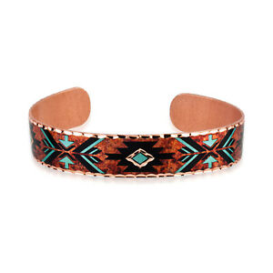 Handmade Copper Cuff Bracelet SW Turquoise Color in Native American Bracelets