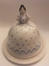 J & G Morten Blue And White Lady pottery cheese plate  & cover 1986