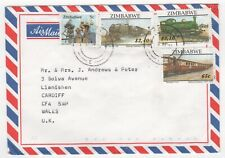 1997 ZIMBABWE Air Mail Cover CAUSEWAY HARARE - LLANISHEN CARDIFF WALES GB Trains