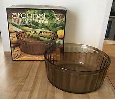 Vintage Arcopal Gourmet Fume Smoke Glass Large Souffle Dish NEW in Box