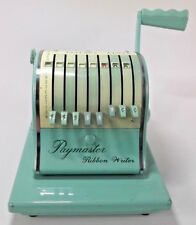 WORKING MINT GREEN PAYMASTER RIBBON WRITER CHECK W/ KEY AND MATCHING COVER