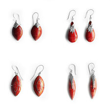 Solid 925 Sterling Silver Natural Red Coral Teardrop Oval Shape Earring Bali