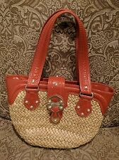 MICHAEL KORS Straw Woven Basket and Leather Studded Satchel Purse