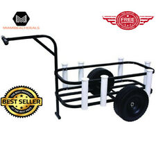 Pier Cart Wagon for Beach Surf Plastic Wheels Rod Holders Cooler Surface Rack