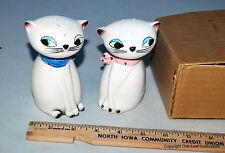 Holt Howard Large Eyed Cat Noisemaker Ceramic Salt Pepper Shakers 1961 Blue Pink