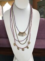 Vintage Gold Tone Bohemian Beaded Charm Dangle Coin Statement Necklace 26""