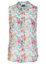 Bodyflirt Damen Bluse Top ärmellos Shirt Hemd Blumen-Muster weiss Gr 40 913699 .