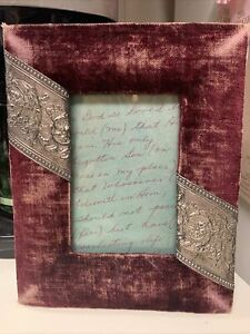 Victorian Velveteen Picture Frame with Gold embellishments ~3.75 x 5.5 opening