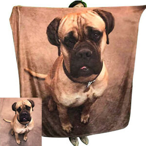 Customized Dog Cat Pet Personalized Photo Print Fleece Throw Blanket Decor Gifts