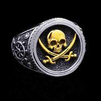 Two-tone Retro Pirate Warrior Skull Ring Men's Rock Cool Rings Biker Punk Gifts