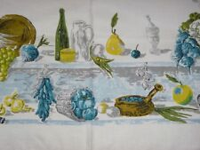 Vtg Mid Century Linen Tablecloth Yellow Turquoise Fruits Veggies Wine 49x49
