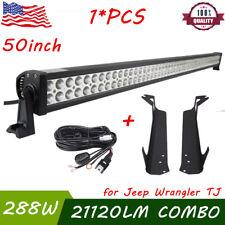 "50"" 288W PHILIPS LED Light bar+Mount Brackets For Jeep Wrangler TJ 97-06+Harness"