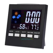 Digital LCD Alarm Clock Indoor/Outdoor Thermometer Hygrometer Temperature Meter
