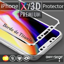 Protector Pantalla Iphone X Borde TITANIO Protección Completa Cubre Todo