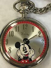 MICKEY MOUSE Silver Tone Pocket Watch Quartz With Chain