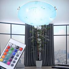 RGB LED Decken Leuchte Glas Kristall Wohnzimmer Flur Bad Lampe mit FERNBEDIENUNG