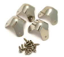 (4) Genuine Fender Nickel 3-screw Amplifier/Cabinet Amp Cab Corners 099-1350-000