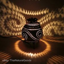 Wooden Bedside Table Lamps made of Coconut Shell - Asian Night Light Wood Shades