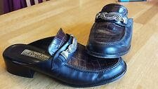 BRIGHTON WOMEN'S BLACK & BROWN CROCO LOOK LEATHER SLIP-ON MULES LOAFERS Italy!!
