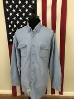 Carhartt FR Denim Shirt men's 3XLT 3xl Tall Flame Resistant Work jean l/s 1c390