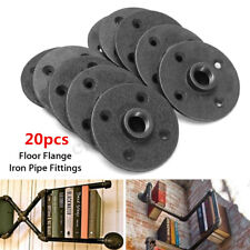 20Pcs 1/2'' Malleable Threaded Floor Cast Iron Flange Pipe Fittings Wall Mount