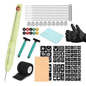 Stick And Poke Tattoo Kit Needles Ink Cups Stencil No Machine Needed Hand Poke