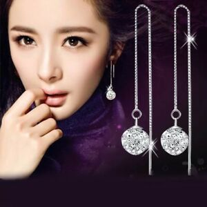 925 Silver Box Chain Crystal Ball Threader Earrings Made with Swarovski Crystals