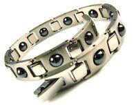 Edelstahlarmband Magnet Power Armband Damen Herren Steel / silber 22 cm