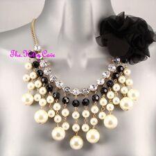 Pearl Diamante Ruffle Flower Corsage Feature Chic Bib Collar Statement Necklace