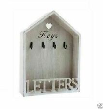 Natural Shabby Chic 4 Key Letter Rack Holder Hooks Vintage Wall Mounted Storage