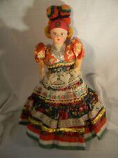 "New ListingVintage Hungarian Folk Doll 16"" Ethnic Magyar Bright Colors Matyo Cloth Wow"