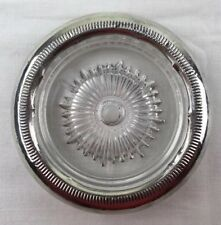 """Vintage Sterling Silver and Glass 4"""" Coaster with Modern Lines Design"""