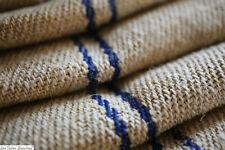 4,7 yards vintage European homespun GRAIN SACK fabric BLUE LINEN HEMP