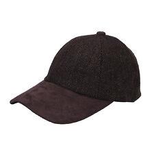 Heritage Traditions Womens Mens Brown Tweed Suede Baseball Casual Skip Cap Hat