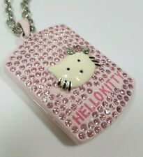 6ba5378fe Hello Kitty Sparkling Pink Crystal Dog Tag Pendant Necklace - 28
